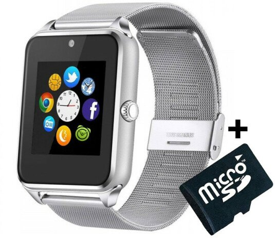 Ceas Smartwatch cu Telefon iUni GT08s Plus, Curea Metalica, Touchscreen, Camera, Notificari, Silver